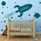 Large Rocket Ship Wall Stickers - Spaceship Planets Kids