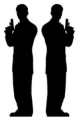 Pack of 2 Secret Agent Man Silhouette Lifesize Standee - James Bond Theme Cardboard Cutout