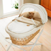 Izziwotnot Gift Cream on Natural Wicker Moses Basket