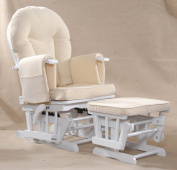 Sereno (white) Nursing Glider maternity rocking chair with glide lock and footstool