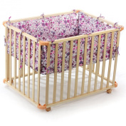 BABY VIVO WOODEN PLAYPEN SQUARE 100x75 CM WITH REMOVABLE WASHABLE INLAY VIOLET