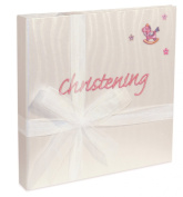 Christening Pearl Guest Book with Pink Rocking Horse