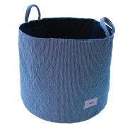 Minene UK Ltd Storage Basket with Stripes (Large, White/ Navy) - stripe storage boxes, round storage baskets, large fabric storage basket - great for toy storage, kids storage and as a laundry hamper