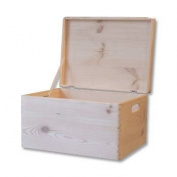 Plain Wooden Chest with Lid -Toy Box Storage Chest - 39.5x 30x 24cm