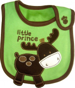 Baby Bib Little Prince Reindeer for BOY hook and loop Cotton, Embroidered, FULLY LINED, INNER WATERPROOF LAYER, One Size - Green & Dark Brown, Ideal for Christmas