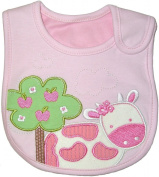 Baby Bib for Girl, The Cow and Apple Tree - Pink & Green, Embroidered, INNER WATERPROOF LAYER