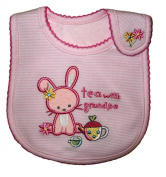 Baby Bib, Tea with Grandpa, Pink, Cotton, FULLY LINED INNER WATERPROOF LAYER