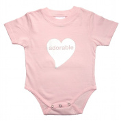 "Fab4babystars ""Adorable"" Baby Grow with Short Sleeve, Size 6 Months, Pink & Silver"