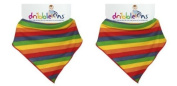 Dribble Ons Bandana Bib - ** 2 PACK/TWIN PACK ** (RAINBOW STRIPES