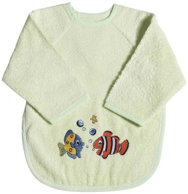 Easy Baby 362-05 Bib with Sleeves Terry Cloth Pistachio