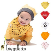 The Lucky set of 5 Funky Giraffe Bandana Bibs