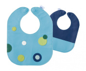 Mod Dots Blue Baby Leather Bib
