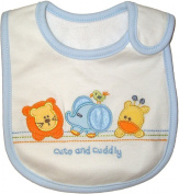 Baby Bib Cuto and Cuddly for Boy or Girl, White, Orange & Blue, Embroidered, FULLY LINED, Inner Waterproof Layer