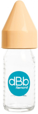 dBb-Remond Régul'Air 120002 Feeding Bottle Glass with Rubber Suction Teat for Newborns and Caramel Lid