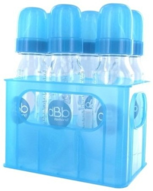 dBb Remond 177369 Bottle Carrier with 6 Round Glass Feeding Bottles with Silicone Teats Translucent Turquoise 240 ml