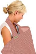BebeChic *100% Cotton* Breastfeeding Cover *105cm x 69cm* Boned Nursing Apron - with drawstring Storage Bag - dusky pink/white dot