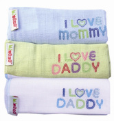 Minene I Love Mummy/ I Love Daddy Embroided Muslins
