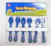 Little Monster Blue Plastic Feeding Forks & Spoons - 6 Pack - 12 Months +