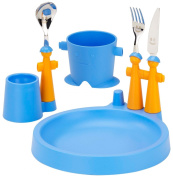 Rivadossi Puppet Club Set with Mug, Plate, Egg Cup and Cutlery, Blue
