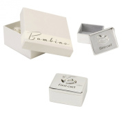 Bambino Baby Christening Gifts. Silverplated First Curl Keepsake Box with Rocking Horse Decoration