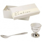 "Bambino Baby Christening Gifts. Silverplated Egg Cup & Spoon ""New Baby"" Set"