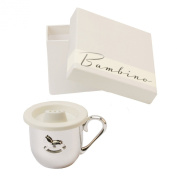 Bambino Baby Christening Gifts. Silverplated Baby Cup with Rocking Horse Decoration