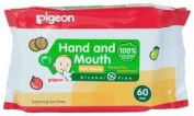 Pigeon Hand and Mouth Wet Tissues, Alcohol Free, Perfect for Meal Time 60 Pieces