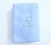 Blue Fleece Pram Blanket With Bear Motif