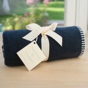 Tuppence and Crumble soft fleece baby blanket navy with cream stitching