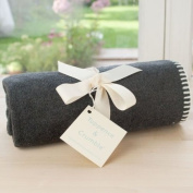 Tuppence and Crumble Soft Fleece Baby Blanket Charcoal with Cream Stitching