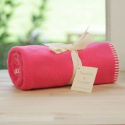 Tuppence and Crumble soft fleece Baby Blanket Bright Pink with Cream Stitching