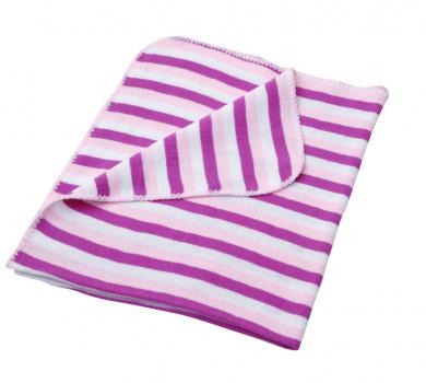 baroo Striped Pram Blanket (Pink & White)