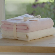 Tuppence and Crumble soft fleece Baby Girl blankets Gift Set Cream and Pale Pink