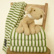 Tuppence and Crumble Green Breton Stripe Baby Blanket
