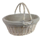 White Wash Willow Wicker Open Basket with Swing Handles