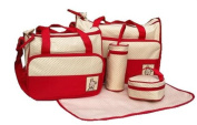 5pcs Baby Nappy Changing Bags Set in Red