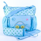 Baby Changing Bag with Mat & Bottle Holder - 'As Cute as a Button' - Blue Cars