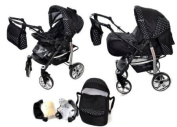 2-in-1 Travel System incl. Baby Pram with 360° Swivel Wheels, Pushchair & Accessories, Black & White Polka Dots