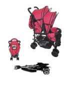 Duo Twin Tandem Pushchair complete with 2 seat units, fully reclining lie back at the rear for newborn, front seat from 6 months.Comes complete with free rain cover. Silver Chassis Berry Red/Black Midnight Trim