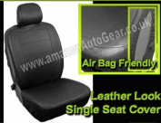 Car MPV Taxi 7 Seater Black Leather Look Airbag Friendly SINGLE Seat Cover