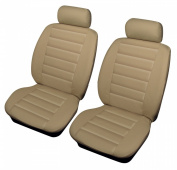 Hondan Accord Universal Size BEIGE LEATHER LOOK Front Car Seat Covers