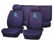 Unitec 84437 Power Seat Cover Black with Logo in Blue