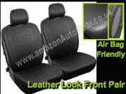 Plain Black Leather Look Airbag Friendly Car Front Seat Covers Set - Pair