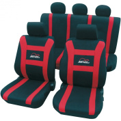 Cartrend 79-5220-02 Speed Complete Seat Cover Set with Docu Seams Red Suitable for Side Airbags