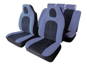 Grey Black Velour Fabric Front Built In Headrests Airbag OK Car Seat Covers Set