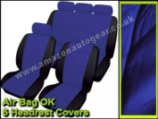 Blue Black Soft Supple Quilted Leather Look Airbag OK Car Seat Covers Full Set