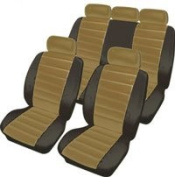 Beige Black Soft Supple Quilted Leather Look Airbag OK Car Seat Covers Full Set