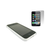 Silver Clip On Back Shell Case & Screen Protector. Apple iPhone 3G / 3G S
