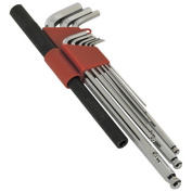 Sealey Ak6145 Extra-long Ball-end Hex Key Wrench Set With Power Bar 9pc Metric