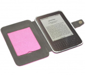 Pink Executive Wallet Case with Stand and Screen Protector - Amazon Kindle 3